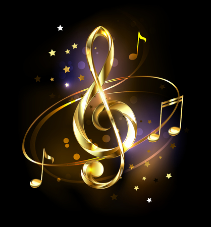 Jewelry, gold, musical key with golden notes and stars on black glowing background.