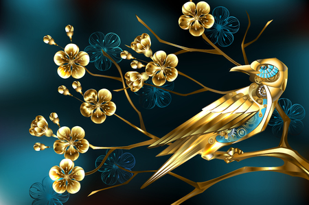 Golden steampunk bird with gold gears on branch, jewelry cherry blossom, on turquoise background.