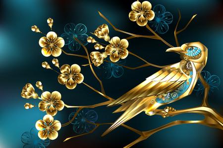 Oiseau steampunk doré avec engrenages dorés sur branche, fleur de cerisier bijoux, sur fond turquoise. Vecteurs