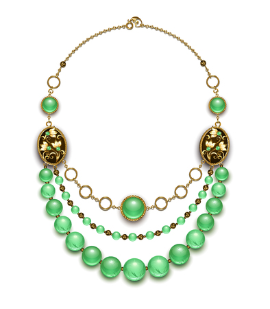 Necklace of round chrysoprase, brass beads and chains on white background.
