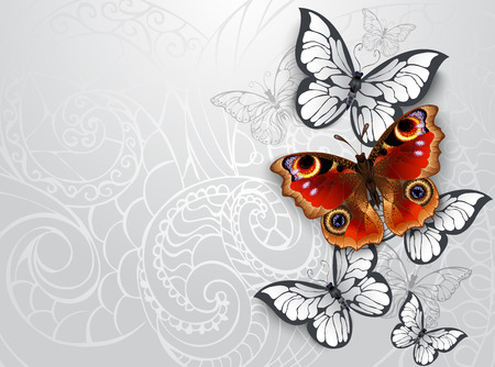 Red, realistic, textured butterfly peacock eye with white butterflies on gray patterned background.