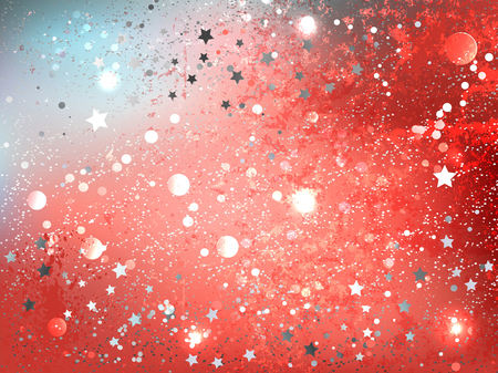 Textural, abstract background of color Live Coral with gray stars. Year 2019.