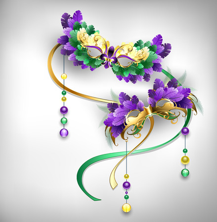 Two gold, carnival masks, decorated with purple and green feathers on gray background. Fat Tuesday. Mardi Gras. Çizim