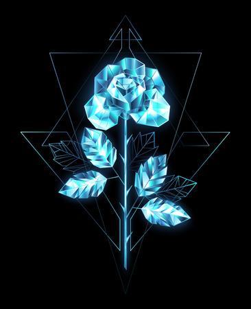Polygonal, sparkling, crystalline rose with straight stem of blue, transparent ice on black background.