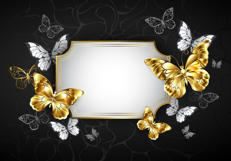 Rectangular white banner with frame, decorated with gold jewelry butterflies on black background.