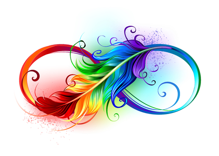 Artistically drawn infinity symbol with beautiful rainbow feather on white background. Tattoo style.