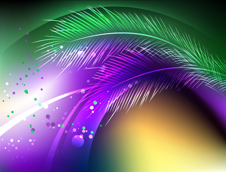 Abstract, purple, green, yellow, iridescent background with fluffy feather and bright confetti. Holiday Mardi Gras.