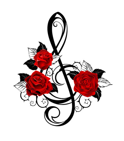Black outline, musical key with realistic red roses with black leaves on white background. Tattoo style.