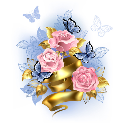 Gentle pink roses entwined with  gold ribbon with blue butterflies on white background. Rose Quartz and serenity. Illustration