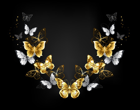 Symmetrical pattern of gold, jewelry and white butterflies on black background. Golden butterfly. 일러스트