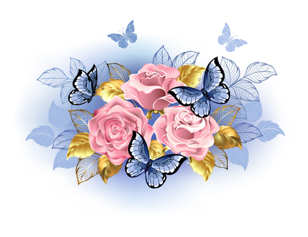 Three pink roses with blue and gold leaves, with blue butterflies sitting on them on white background. Rose Quartz and serenity. Çizim