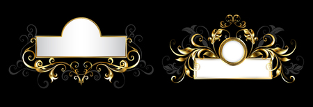 Two antique, ornate nameplates with patterned frame of gold and gray leaves on black background.
