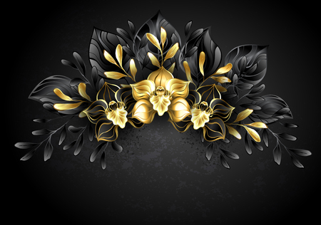 Wreath of jewelry orchids with gold and dark leaves. Black Orchid. Çizim