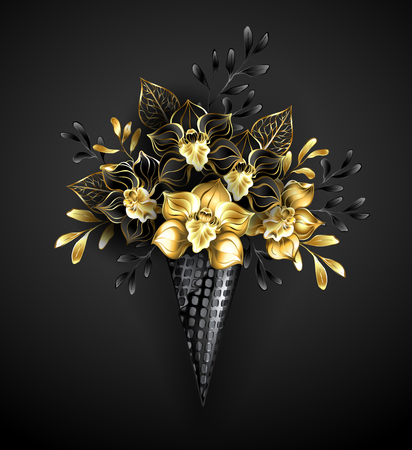 Licorice, waffle cone with jewelry black orchids with gold ornamental plants on gray background.