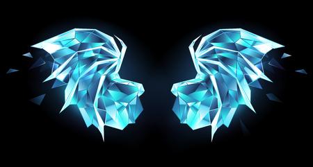 Ice, polygonal, blue, transparent, sparkling dragon wings on black background. Illustration