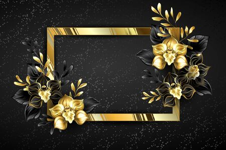 Rectangular banner of gold foil with black jewelry orchids, decorated with black and gold ornamental plants on black background.