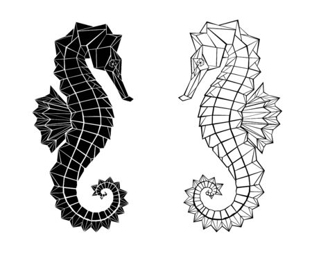 Two polygonal, black, contour seahorses drawn in tattoo style on white background.  イラスト・ベクター素材