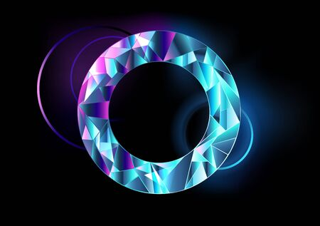 Round, faceted, abstract, transparent banner with blue and pink neon lights on black background. Stock fotó - 129769106