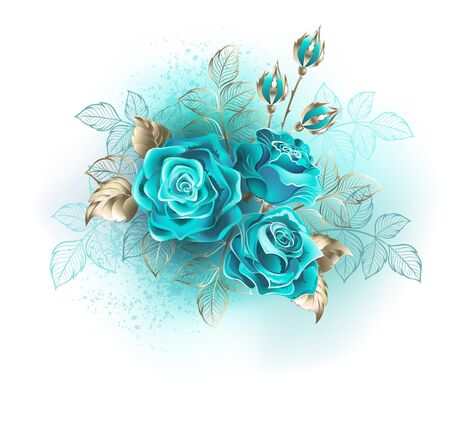 Bouquet of three turquoise roses with gold and turquoise leaves on white background. Иллюстрация