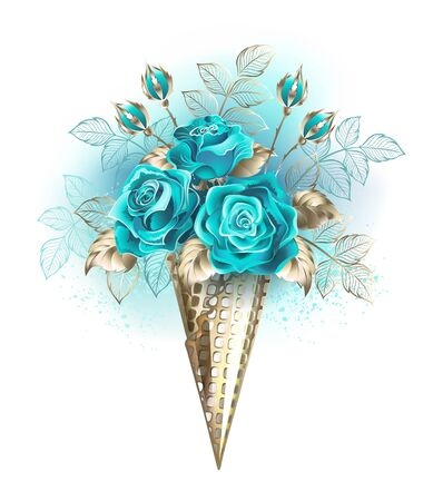 White gold waffle cone with turquoise roses decorated with blue leaves on white background.