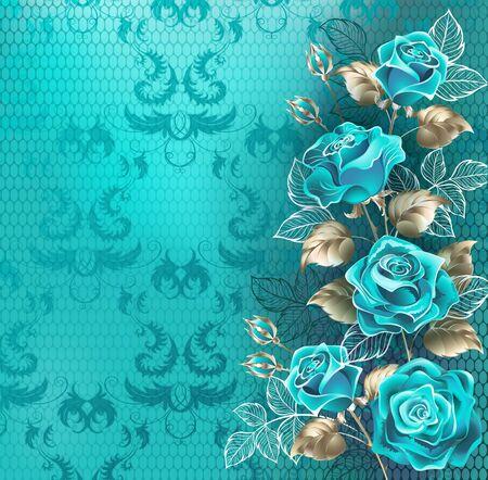 Composición de rosas turquesas con hojas de oro blanco y hojas de contorno blanco sobre fondo turquesa, encaje. Ilustración de vector