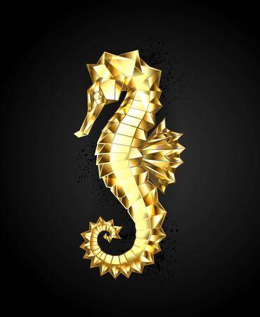 Artistic, polygonal, seahorse of sparkling, gold foil on black background.