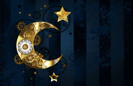 Brass, antique, golden moon decorated with brass gears and white dial on dark, blue, striped background with gold stars.