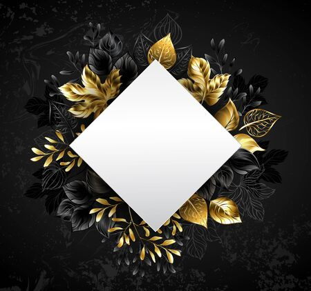 Gold, autumn, jewelry leaves with white banner in shape of rhombus on black textured background. Çizim