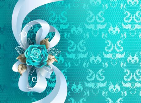 White silk bow decorated with turquoise rose with leaves of white gold on turquoise, lace background.