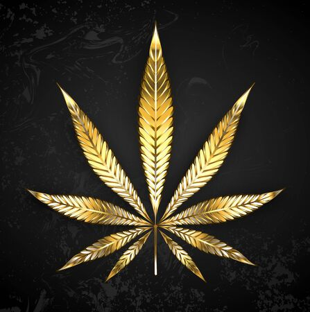 Golden, shiny leaf of cannabis on black textured background. Golden hemp.