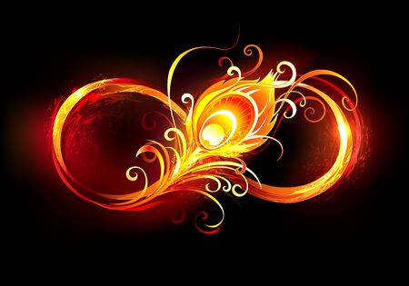 Artistically drawn, fiery symbol of infinity with bright fiery peacock feather on black background. Illustration