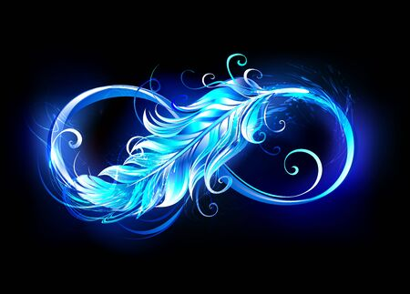 Fiery infinity symbol with light feather of bird from blue bright flame on black background.