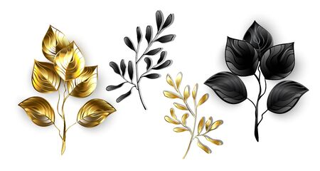 Collection of isolated, decorative twigs made of shiny, black and gold foil on white background. Reklamní fotografie - 135445949