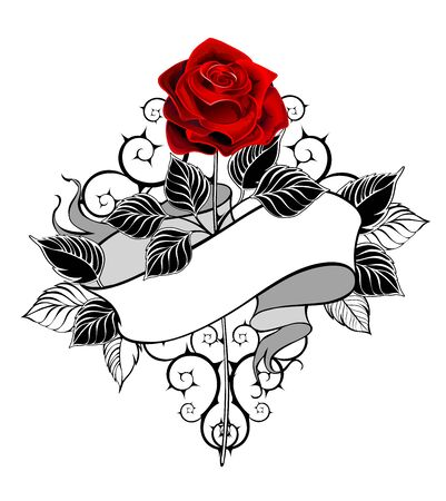 Straight rose with red bud, stem, black leaves, decorated with ribbon in tattoo style on white background. Reklamní fotografie - 135445957