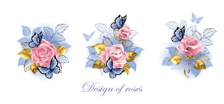 Three small bouquets of pink roses with gold jewelry leaves with blue butterflies on white background.