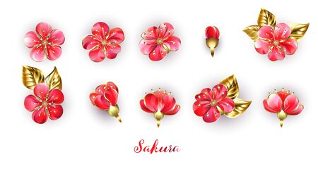 Set of realistic, jewelry, shiny sakura flowers with red petals and gold stamens on white background.