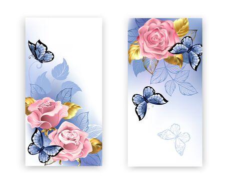 Dos pancartas con rosas rosadas, joyas de oro y hojas azules con mariposas azules sobre fondo blanco. Cuarzo rosa y serenidad.
