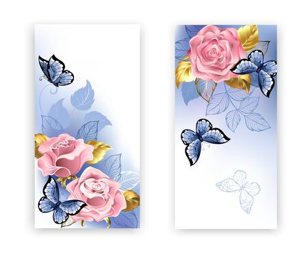 Two banners with pink roses, jewelry gold and blue leaves with blue butterflies on white background. Rose Quartz and serenity.
