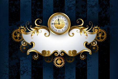 Jewelry, patterned banner with antique watches, decorated with gold and brass gears on dark blue, textured, striped background, drawn in steampunk style. Ilustração