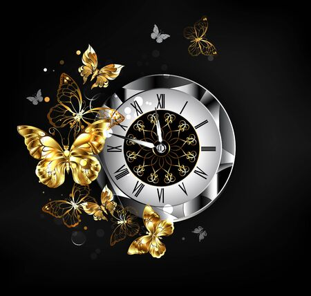Antique clock, decorated with patterned dial, black latin numerals, with flying gold, jewelry butterflies on black background. Stock Illustratie
