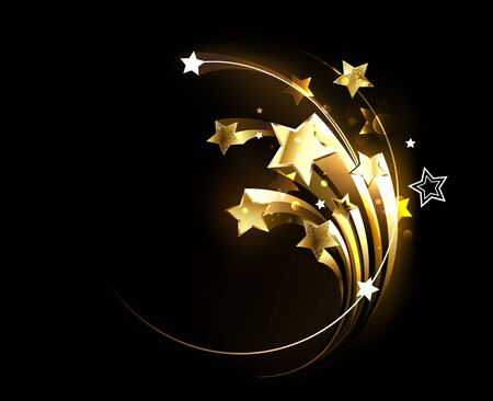 Several jewelry, gold, sparkling comets on black background. Design with golden stars.