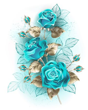 Artistically drawn, turquoise roses with stems and leaves of white gold on white background. Fashionable color.