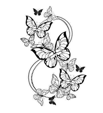 Número ocho de contorno, realistas, mariposas volando sobre fondo blanco. Feliz día de la mujer.