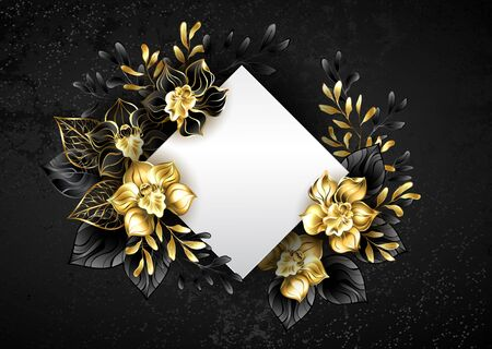 White banner in shape of rhombus, decorated with black and gold, jewelry orchids with twigs on textured background.