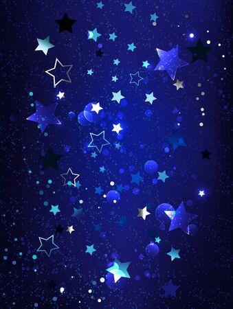 Dark, blue textured background with blue, shiny, little stars. Phantom blue. Ilustração
