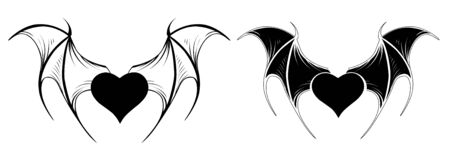 Two small, vampire, black hearts with bat contour wings on white background. Tattoo style. Ilustração