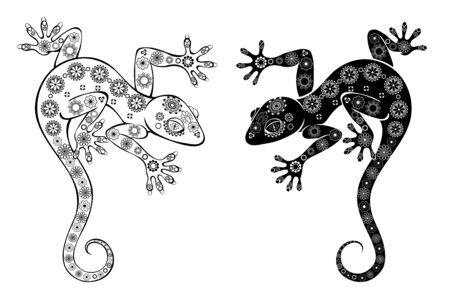 Deux geckos à motifs artistiquement dessinés, noirs, contours sur fond blanc. Style de tatouage
