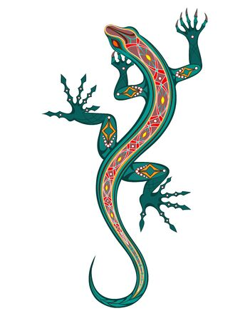 Patterned, artistic, exotic, bright lizard, painted in green and red on white background. Tattoo style.