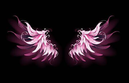Ailes d'ange légères, artistiques, roses sur fond noir. Ailes d'anges.