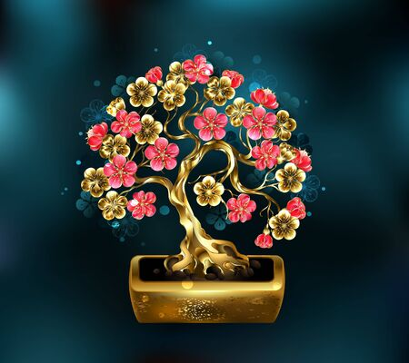 Sakura jewelry bonsai with golden trunk decorated with gold and red shiny flowers on turquoise background.